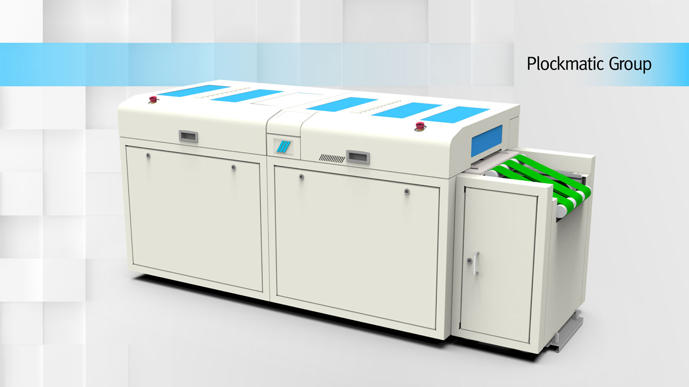New Argos Solutions' Plockmatic Coater placed on a minimalist square greyish background